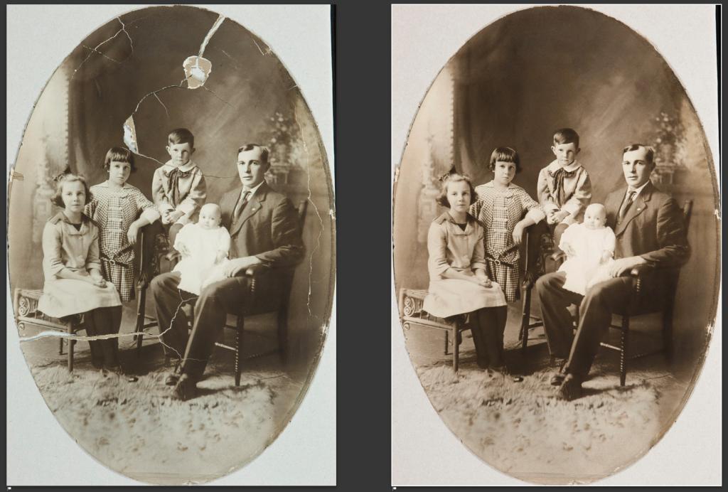digital repair of damaged photographs