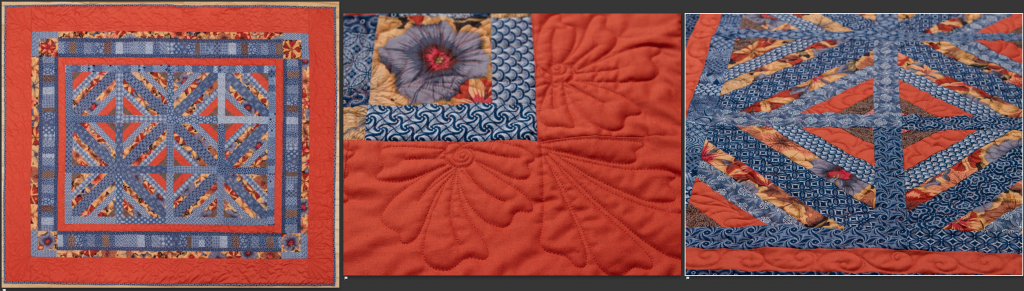 large quilt being photographed with front, back, and detail images